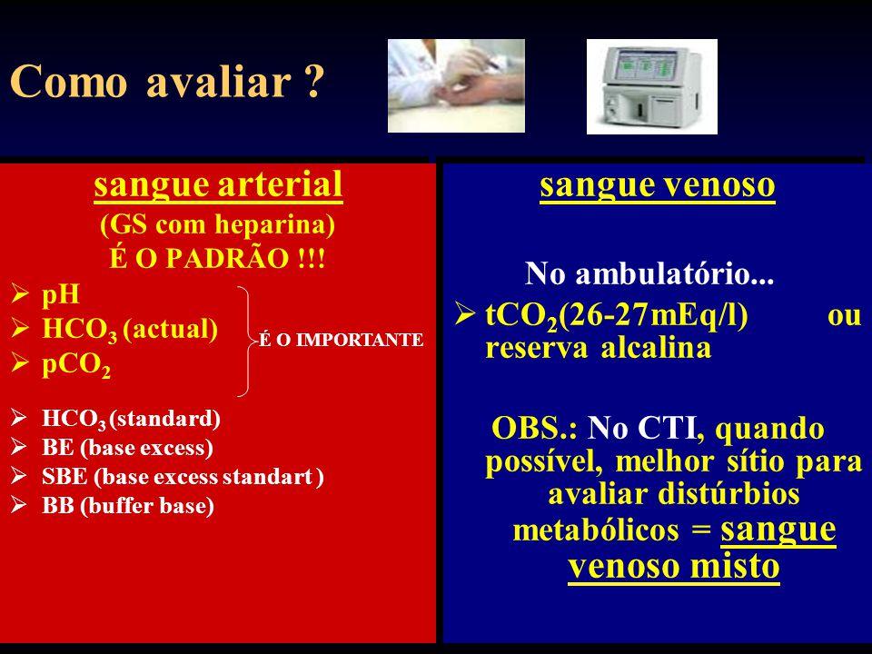 ALCALOSE METABÓLICA DIAGNÓSTICO Cloreto Urinário < 25 mEq/l: - perdas gástricas, intestinais; diuréticos, baixa ingesta de cloreto; fibrose cística.