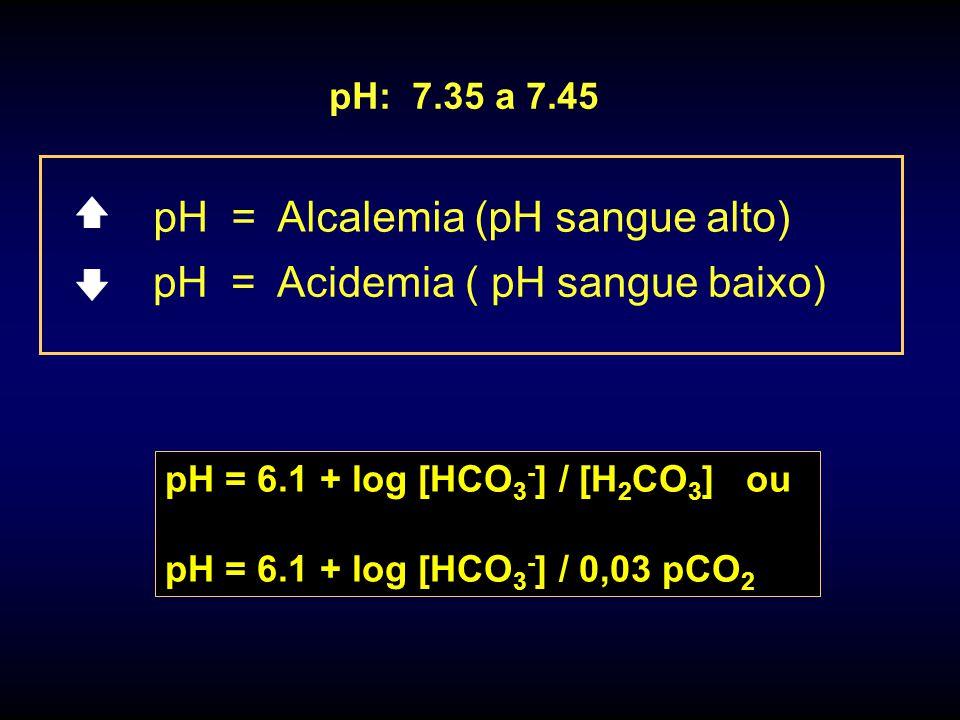 pH = Acidemia ( pH sangue baixo) pH = Alcalemia (pH sangue alto) pH: 7.35 a 7.45 pH = 6.1 + log [HCO 3 - ] / [H 2 CO 3 ] ou pH = 6.1 + log [HCO 3 - ] / 0,03 pCO 2