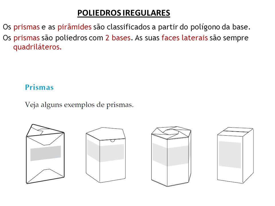 POLIEDROS IREGULARES Os prismas e as pirâmides são classificados a partir do polígono da base. Os prismas são poliedros com 2 bases. As suas faces lat