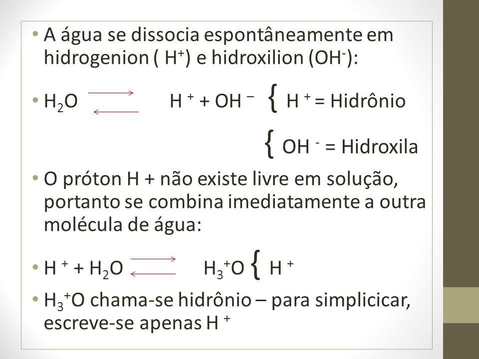 A água se dissocia espontâneamente em hidrogenion ( H + ) e hidroxilion (OH - ): H 2 O H + + OH – { H + = Hidrônio { OH - = Hidroxila O próton H + não