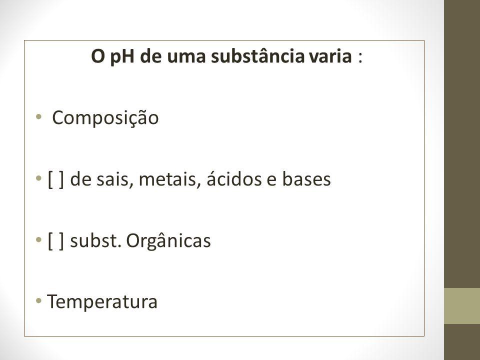 O pH de uma substância varia : Composição [ ] de sais, metais, ácidos e bases [ ] subst. Orgânicas Temperatura