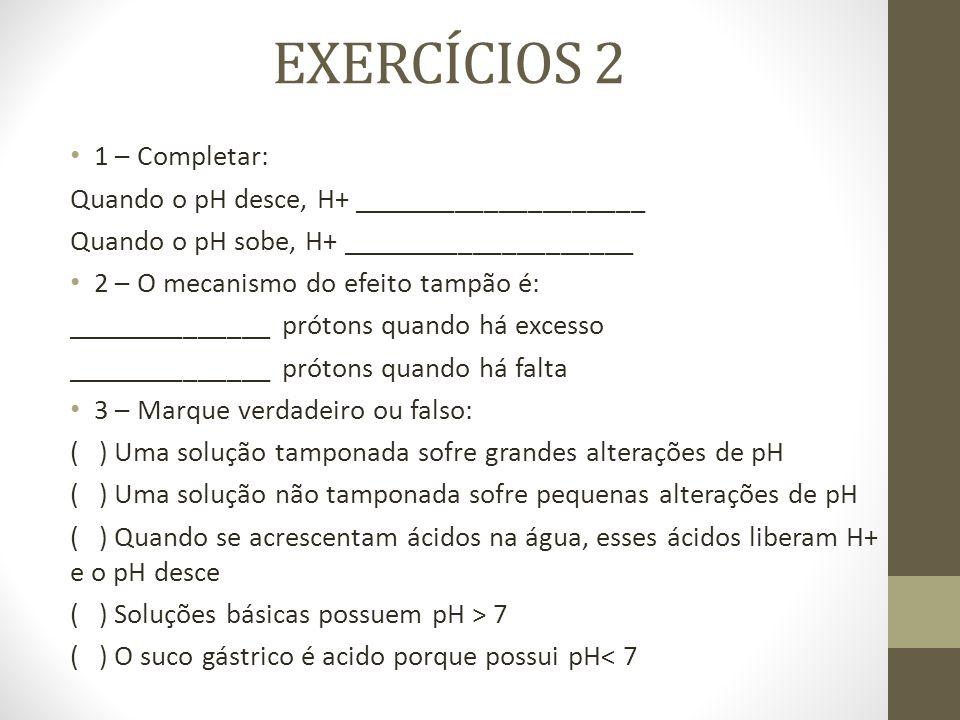 EXERCÍCIOS 2 1 – Completar: Quando o pH desce, H+ ____________________ Quando o pH sobe, H+ ____________________ 2 – O mecanismo do efeito tampão é: _