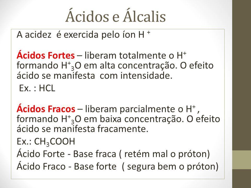 Ácidos e Álcalis A acidez é exercida pelo íon H + Ácidos Fortes – liberam totalmente o H + formando H + 3 O em alta concentração. O efeito ácido se ma