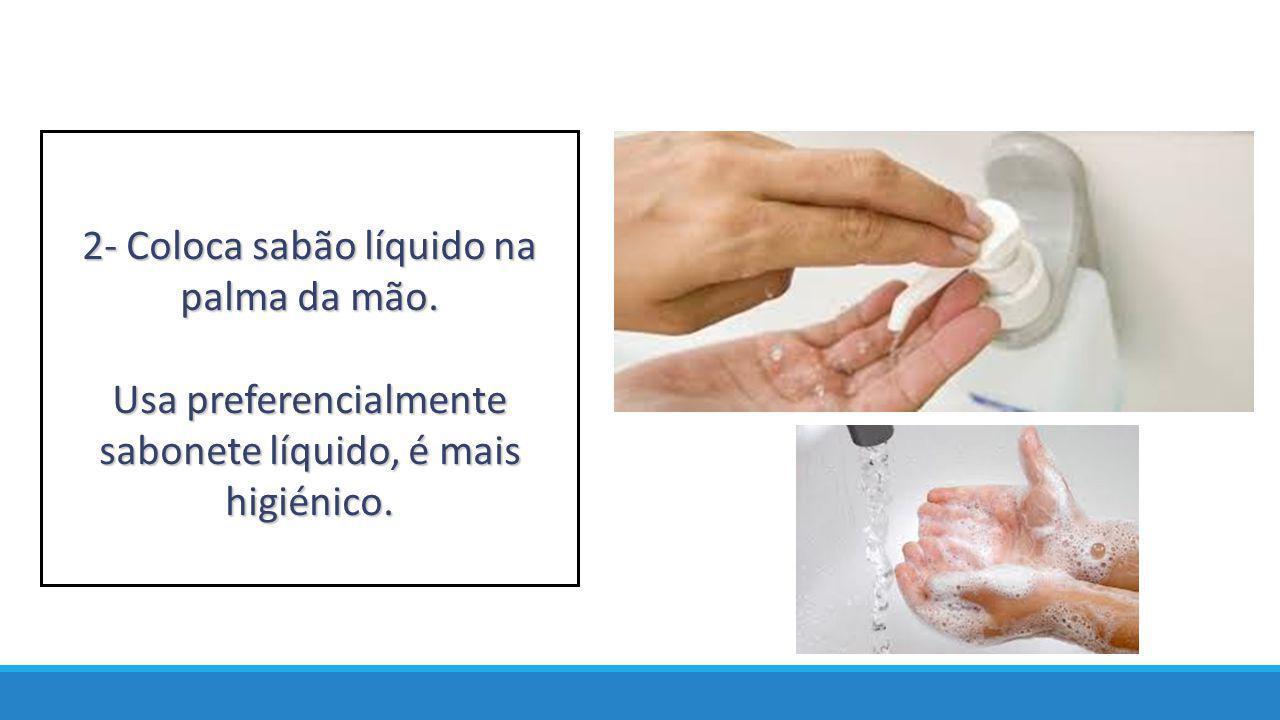2- Coloca sabão líquido na palma da mão. Usa preferencialmente sabonete líquido, é mais higiénico.