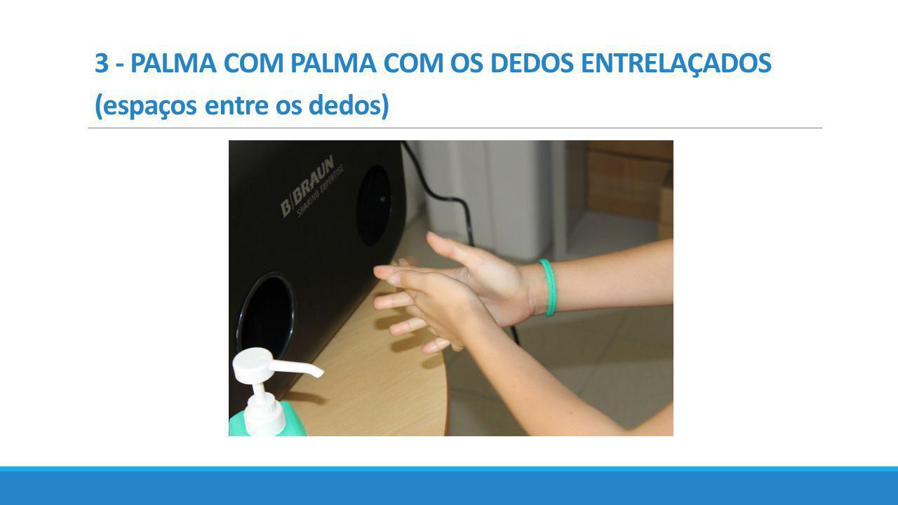 3 - PALMA COM PALMA COM OS DEDOS ENTRELAÇADOS (espaços entre os dedos)