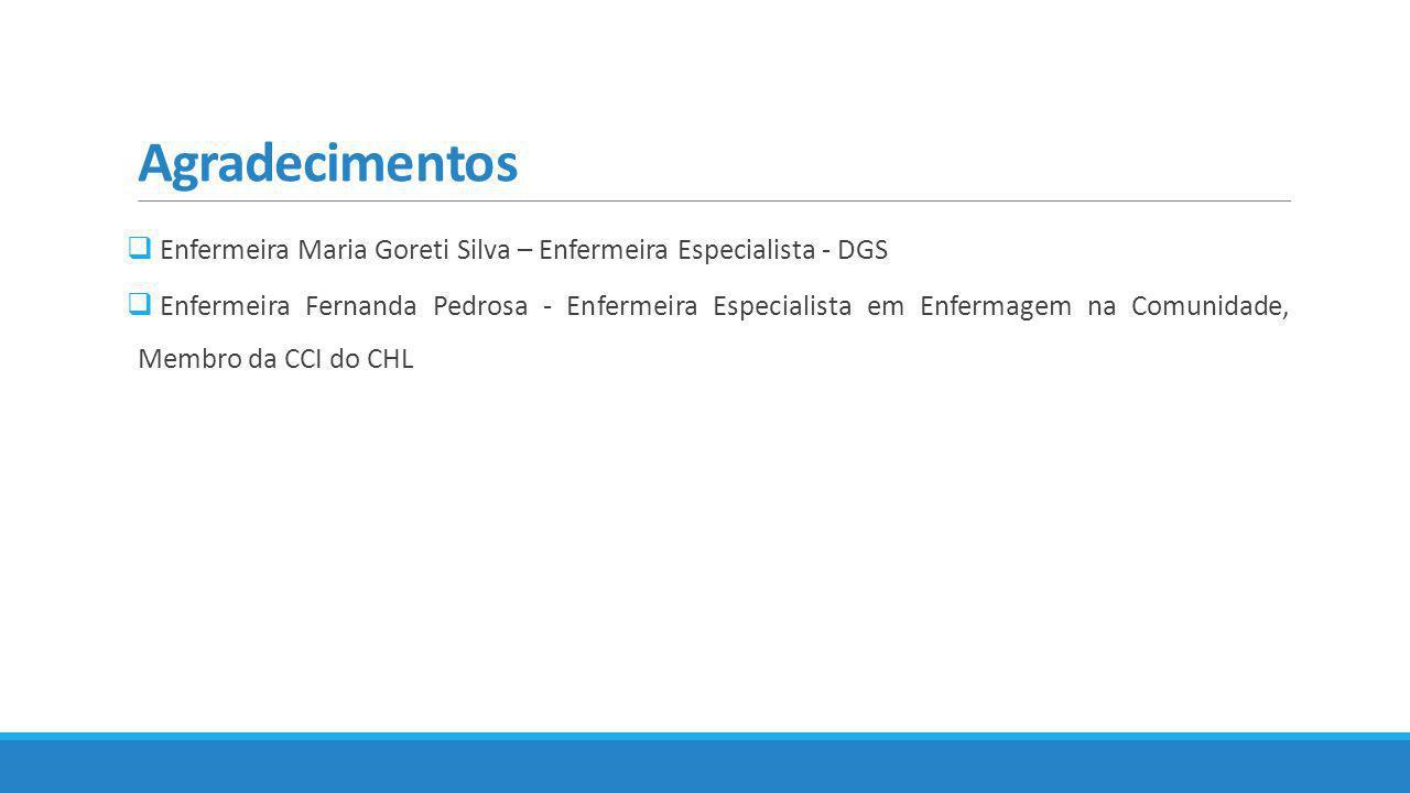 Agradecimentos  Enfermeira Maria Goreti Silva – Enfermeira Especialista - DGS  Enfermeira Fernanda Pedrosa - Enfermeira Especialista em Enfermagem n