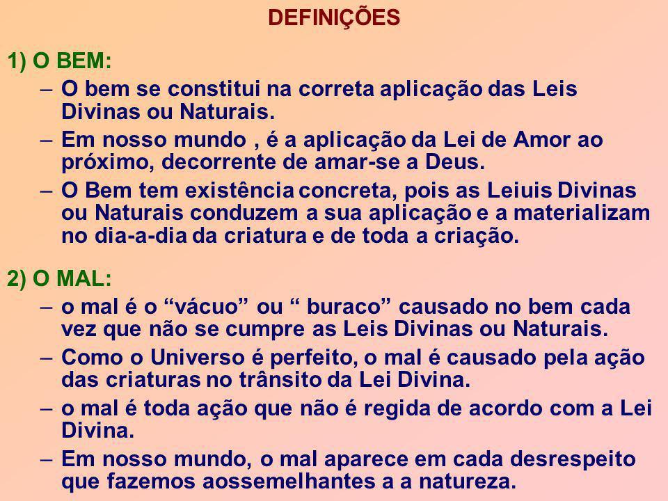 DEFINIÇÕES 1) O BEM: –O bem se constitui na correta aplicação das Leis Divinas ou Naturais. –Em nosso mundo, é a aplicação da Lei de Amor ao próximo,
