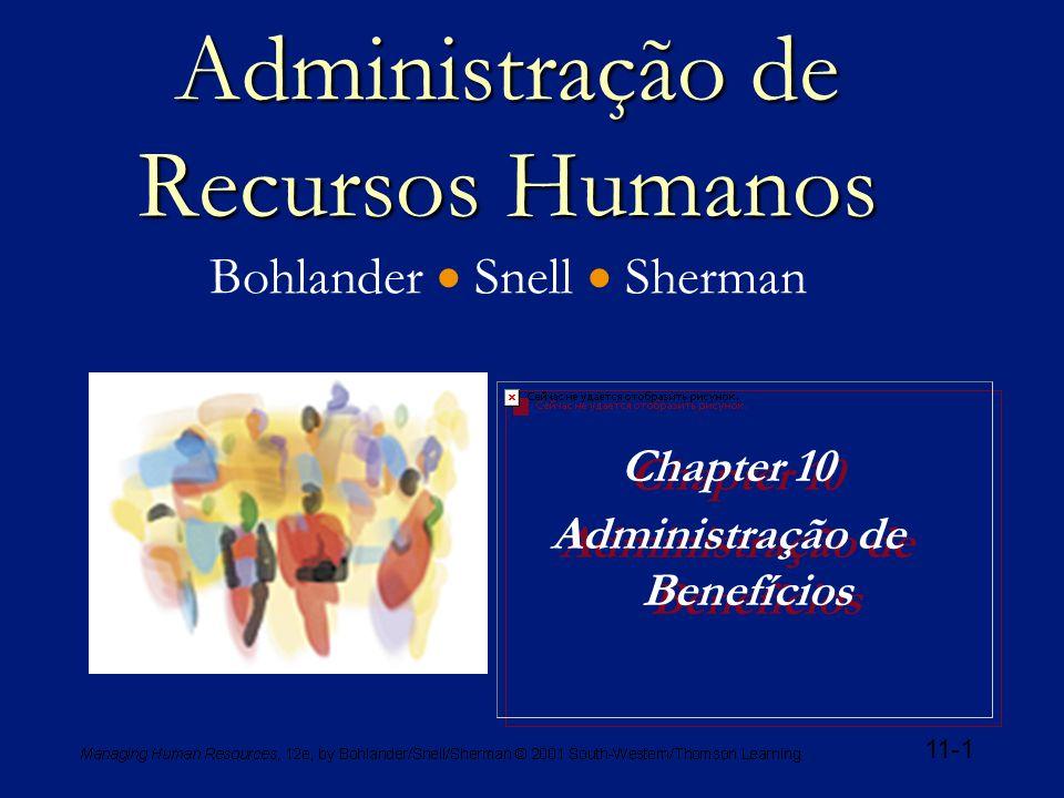 11-1 Administração de Recursos Humanos Administração de Recursos Humanos Bohlander  Snell  Sherman Chapter 10 Administração de Benefícios Chapter 10 Administração de Benefícios