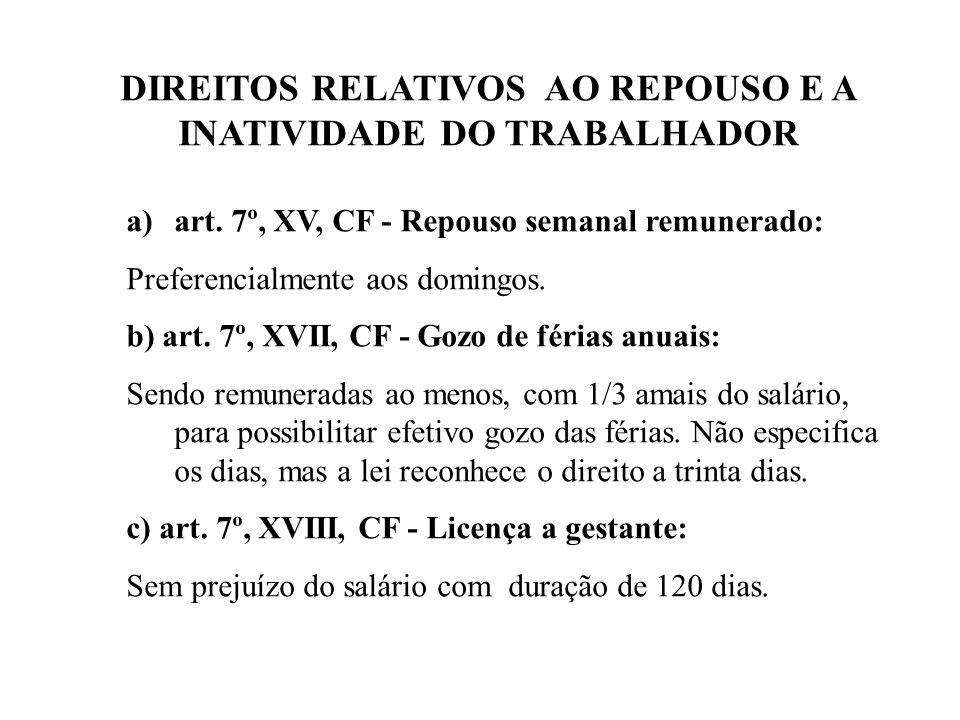 DIREITOS RELATIVOS AO REPOUSO E A INATIVIDADE DO TRABALHADOR a)art.