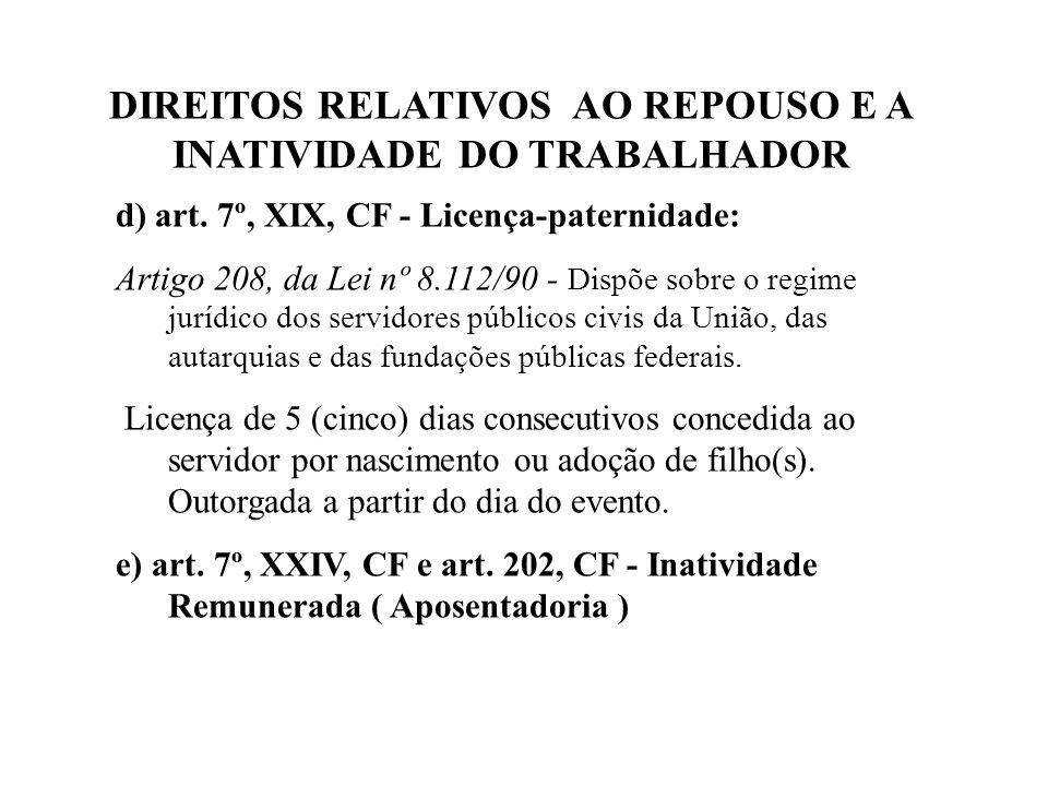DIREITOS RELATIVOS AO REPOUSO E A INATIVIDADE DO TRABALHADOR d) art.