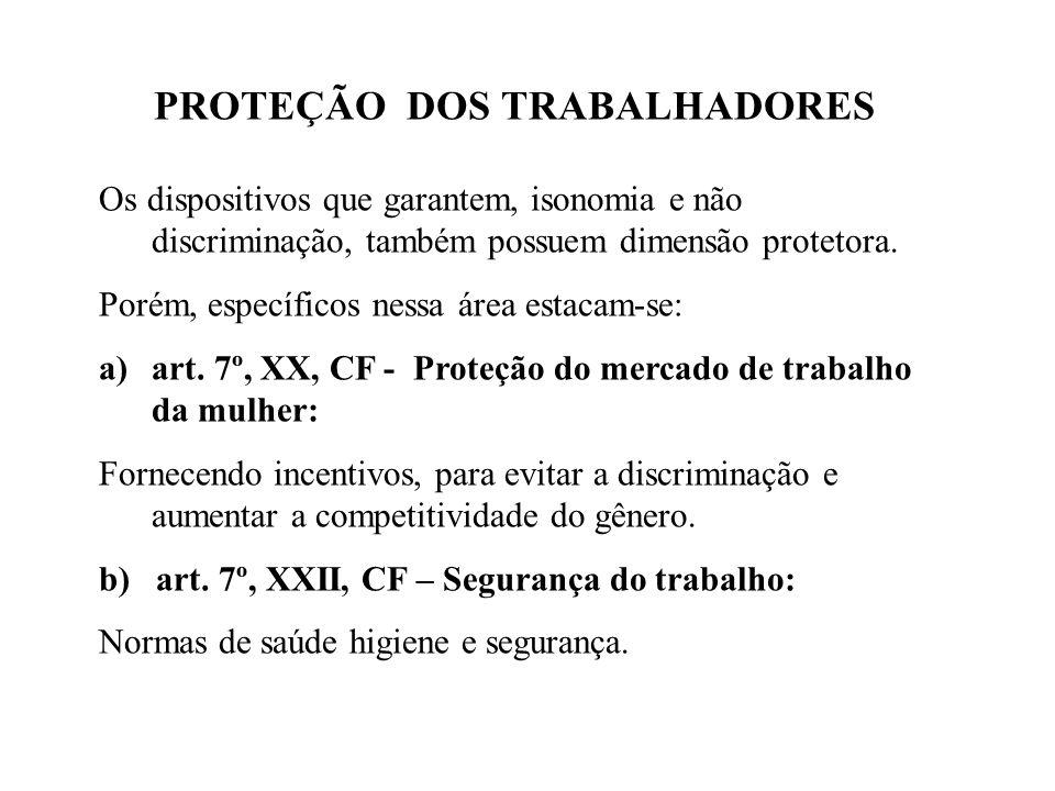 PROTEÇÃO DOS TRABALHADORES Os dispositivos que garantem, isonomia e não discriminação, também possuem dimensão protetora.