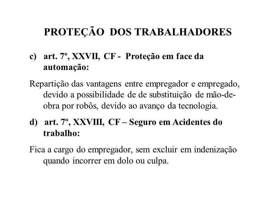 PROTEÇÃO DOS TRABALHADORES c) art.