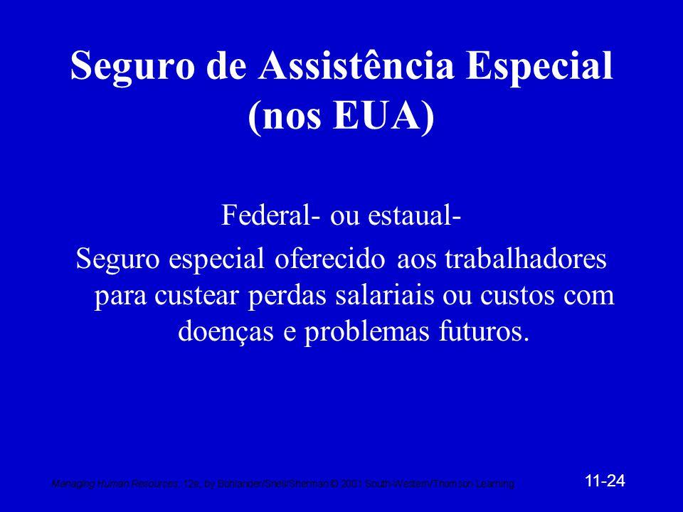 11-24 Seguro de Assistência Especial (nos EUA) Federal- ou estaual- Seguro especial oferecido aos trabalhadores para custear perdas salariais ou custos com doenças e problemas futuros.