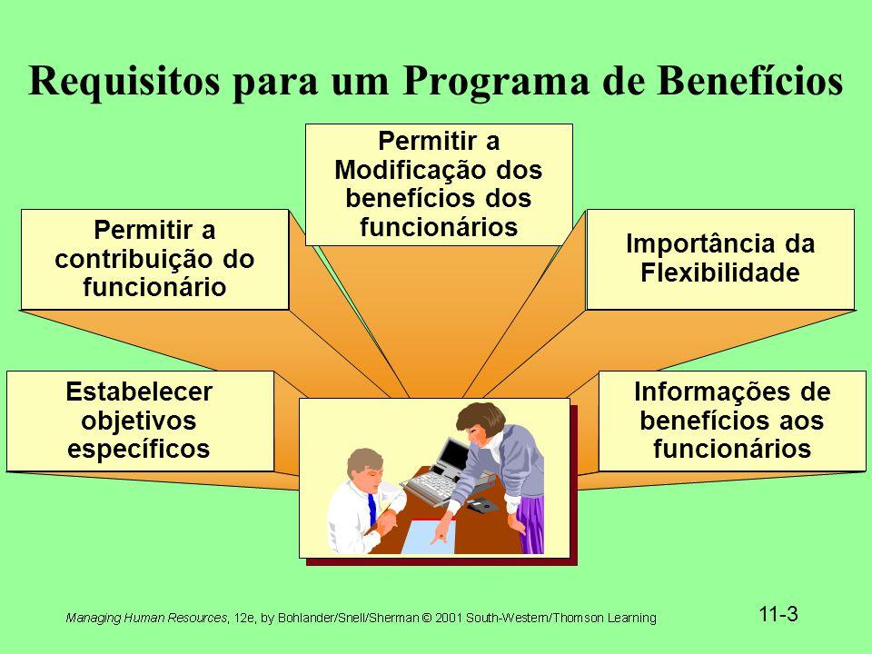 11-3 Requisitos para um Programa de Benefícios Permitir a contribuição do funcionário Permitir a Modificação dos benefícios dos funcionários Importância da Flexibilidade Estabelecer objetivos específicos Informações de benefícios aos funcionários