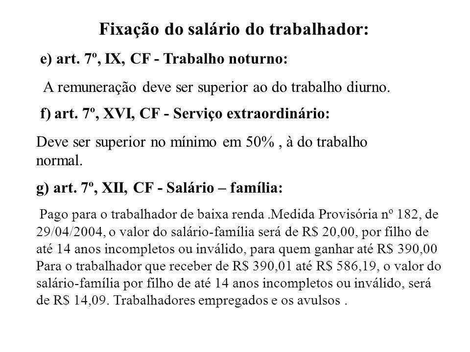 Fixação do salário do trabalhador: e) art.