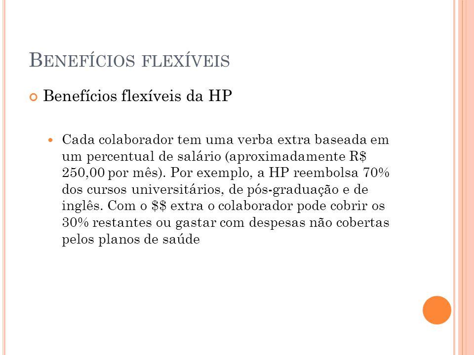 B ENEFÍCIOS FLEXÍVEIS Benefícios flexíveis da HP Cada colaborador tem uma verba extra baseada em um percentual de salário (aproximadamente R$ 250,00 p