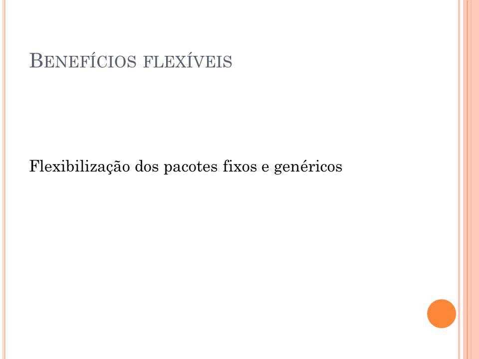 B ENEFÍCIOS FLEXÍVEIS Flexibilização dos pacotes fixos e genéricos