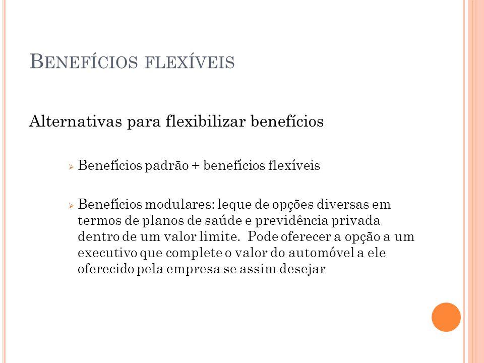 B ENEFÍCIOS FLEXÍVEIS Alternativas para flexibilizar benefícios  Benefícios padrão + benefícios flexíveis  Benefícios modulares: leque de opções diversas em termos de planos de saúde e previdência privada dentro de um valor limite.
