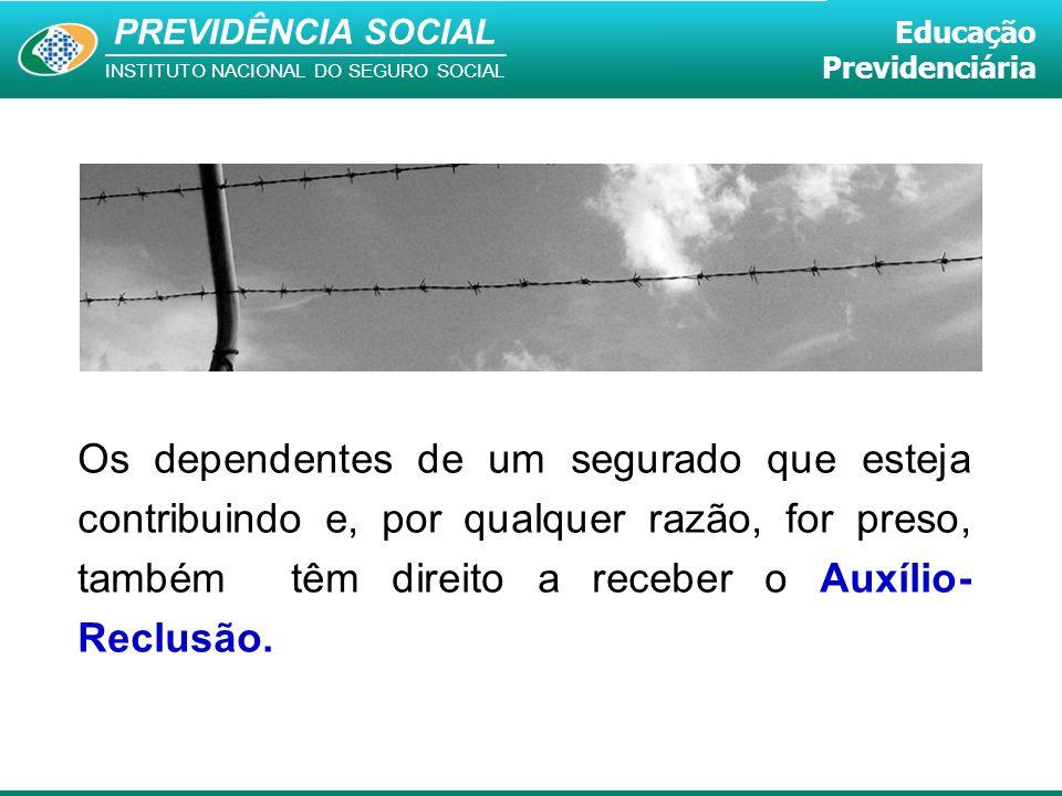 PREVIDÊNCIA SOCIAL INSTITUTO NACIONAL DO SEGURO SOCIAL Educação Previdenciária Os dependentes de um segurado que esteja contribuindo e, por qualquer r