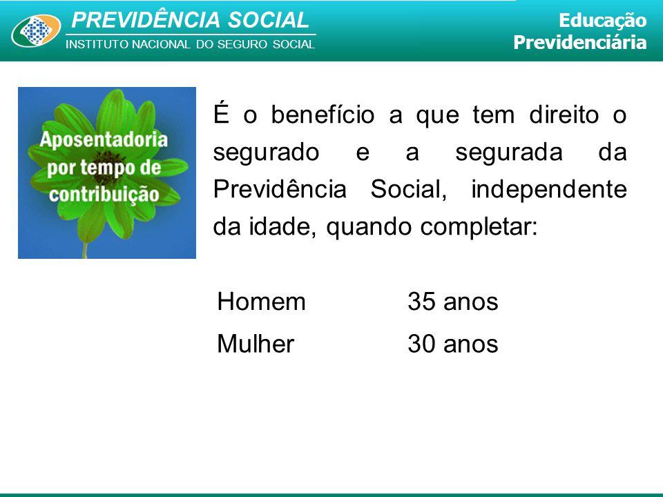 PREVIDÊNCIA SOCIAL INSTITUTO NACIONAL DO SEGURO SOCIAL Educação Previdenciária É o benefício a que tem direito o segurado e a segurada da Previdência