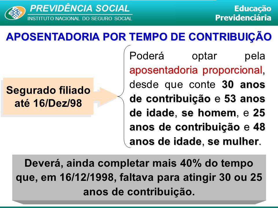 PREVIDÊNCIA SOCIAL INSTITUTO NACIONAL DO SEGURO SOCIAL Educação Previdenciária Deverá, ainda completar mais 40% do tempo que, em 16/12/1998, faltava p