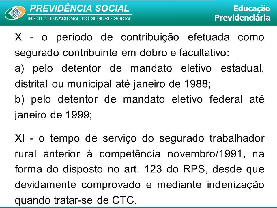 PREVIDÊNCIA SOCIAL INSTITUTO NACIONAL DO SEGURO SOCIAL Educação Previdenciária X - o período de contribuição efetuada como segurado contribuinte em do