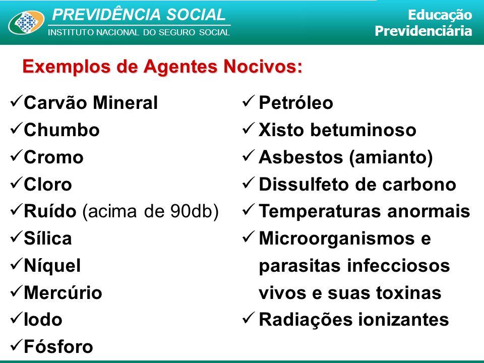 PREVIDÊNCIA SOCIAL INSTITUTO NACIONAL DO SEGURO SOCIAL Educação Previdenciária Exemplos de Agentes Nocivos: Carvão Mineral Chumbo Cromo Cloro Ruído (a