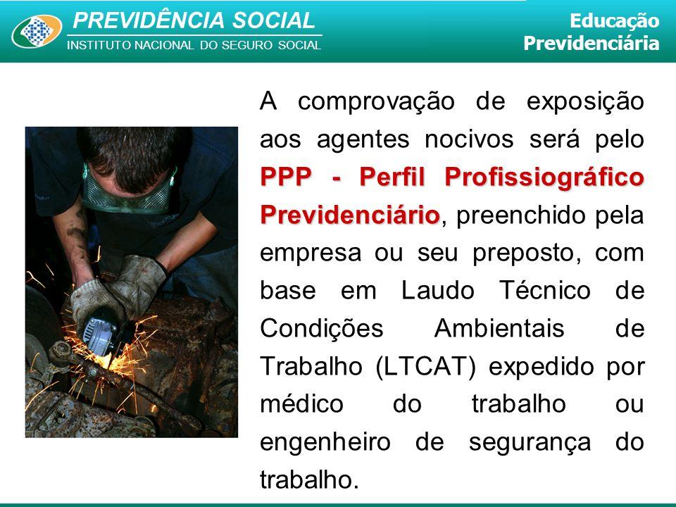 PREVIDÊNCIA SOCIAL INSTITUTO NACIONAL DO SEGURO SOCIAL Educação Previdenciária PPP - Perfil Profissiográfico Previdenciário A comprovação de exposição
