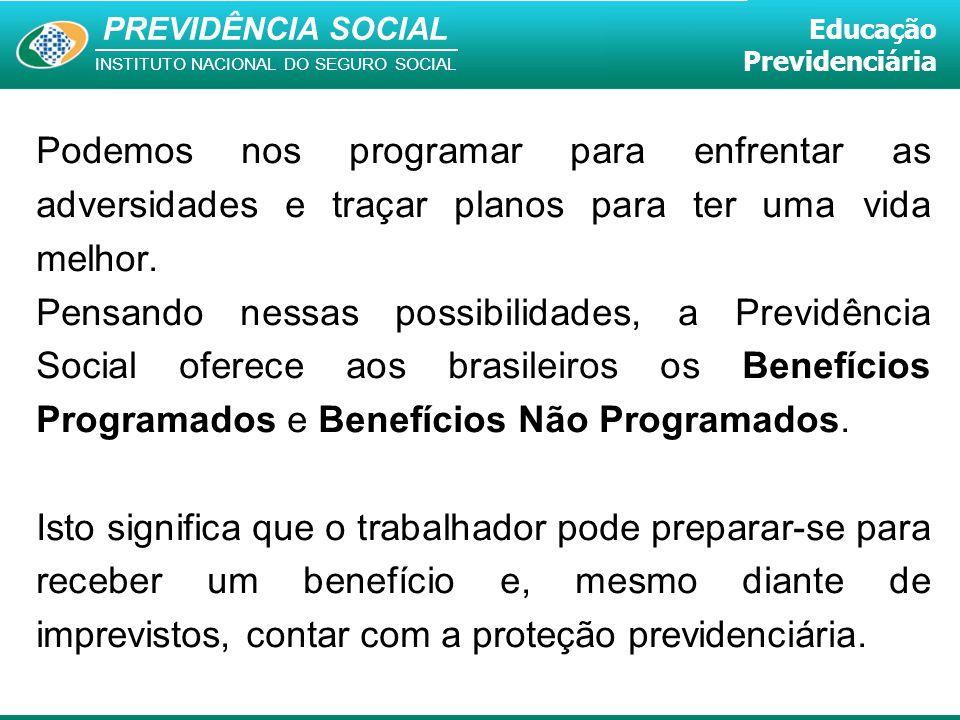PREVIDÊNCIA SOCIAL INSTITUTO NACIONAL DO SEGURO SOCIAL Educação Previdenciária Podemos nos programar para enfrentar as adversidades e traçar planos pa