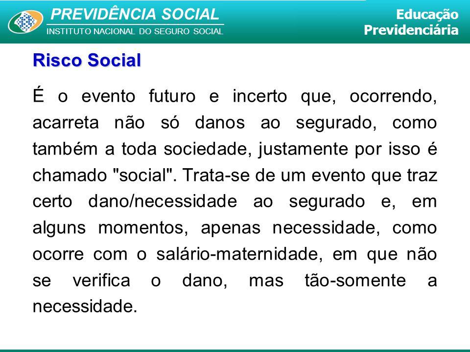 PREVIDÊNCIA SOCIAL INSTITUTO NACIONAL DO SEGURO SOCIAL Educação Previdenciária É o evento futuro e incerto que, ocorrendo, acarreta não só danos ao se