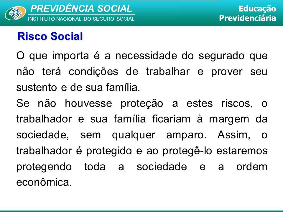 PREVIDÊNCIA SOCIAL INSTITUTO NACIONAL DO SEGURO SOCIAL Educação Previdenciária O que importa é a necessidade do segurado que não terá condições de tra