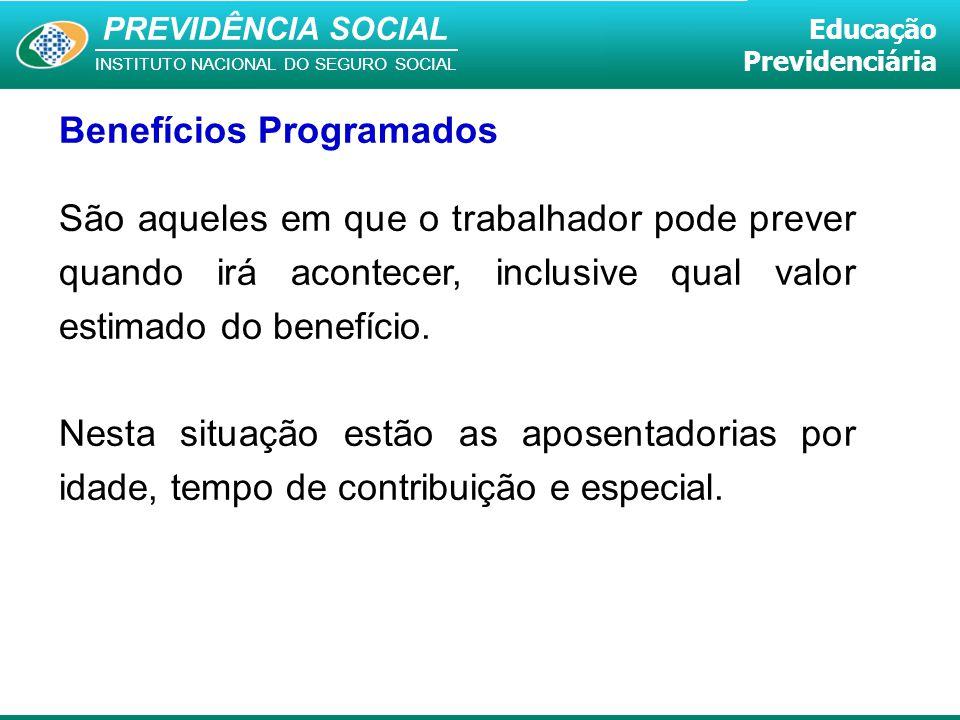 PREVIDÊNCIA SOCIAL INSTITUTO NACIONAL DO SEGURO SOCIAL Educação Previdenciária Benefícios Programados São aqueles em que o trabalhador pode prever qua