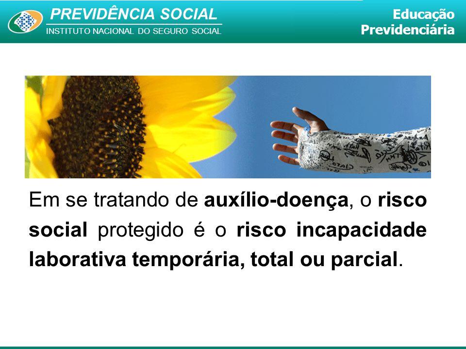 PREVIDÊNCIA SOCIAL INSTITUTO NACIONAL DO SEGURO SOCIAL Educação Previdenciária Em se tratando de auxílio-doença, o risco social protegido é o risco in