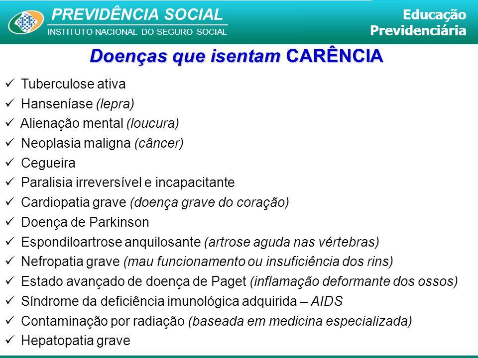 PREVIDÊNCIA SOCIAL INSTITUTO NACIONAL DO SEGURO SOCIAL Educação Previdenciária Tuberculose ativa Hanseníase (lepra) Alienação mental (loucura) Neoplas