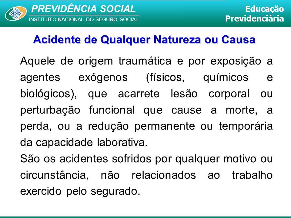 PREVIDÊNCIA SOCIAL INSTITUTO NACIONAL DO SEGURO SOCIAL Educação Previdenciária Acidente de Qualquer Natureza ou Causa Aquele de origem traumática e po