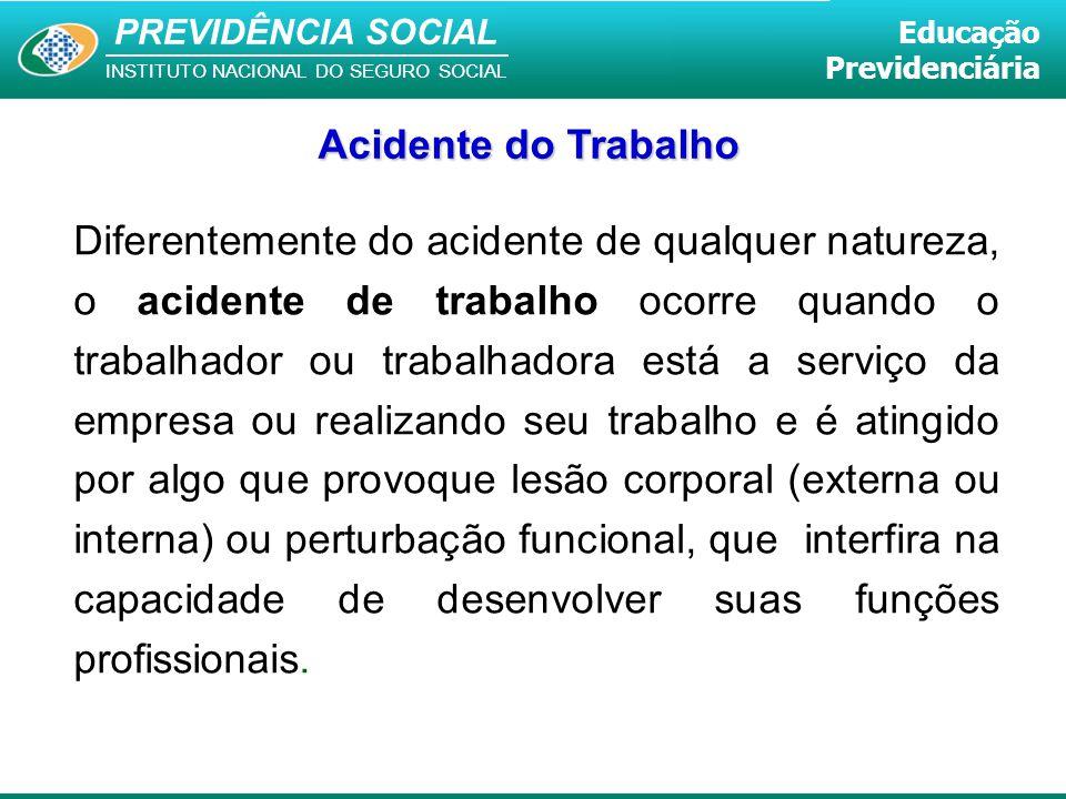 PREVIDÊNCIA SOCIAL INSTITUTO NACIONAL DO SEGURO SOCIAL Educação Previdenciária Acidente do Trabalho Diferentemente do acidente de qualquer natureza, o