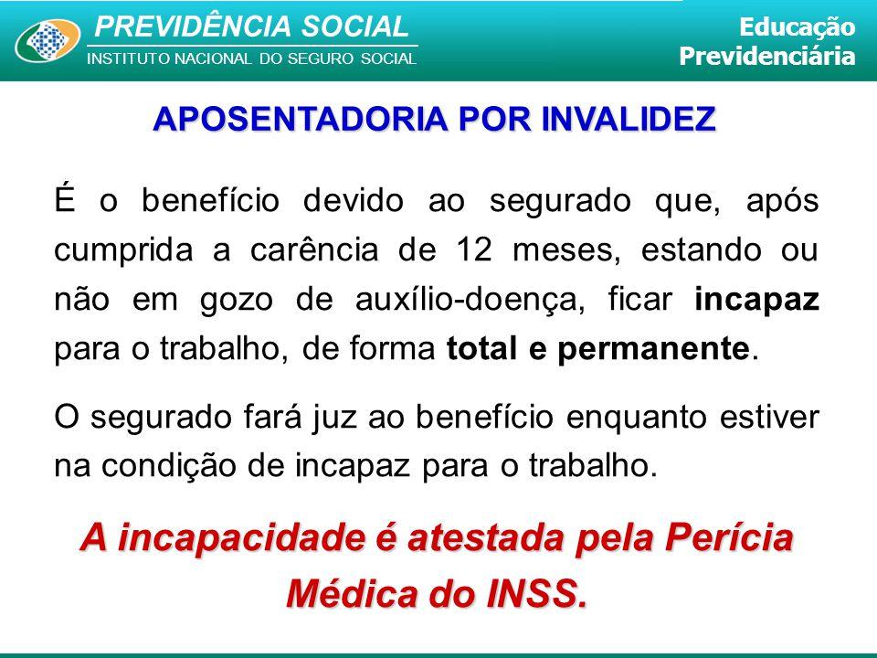 PREVIDÊNCIA SOCIAL INSTITUTO NACIONAL DO SEGURO SOCIAL Educação Previdenciária APOSENTADORIA POR INVALIDEZ É o benefício devido ao segurado que, após