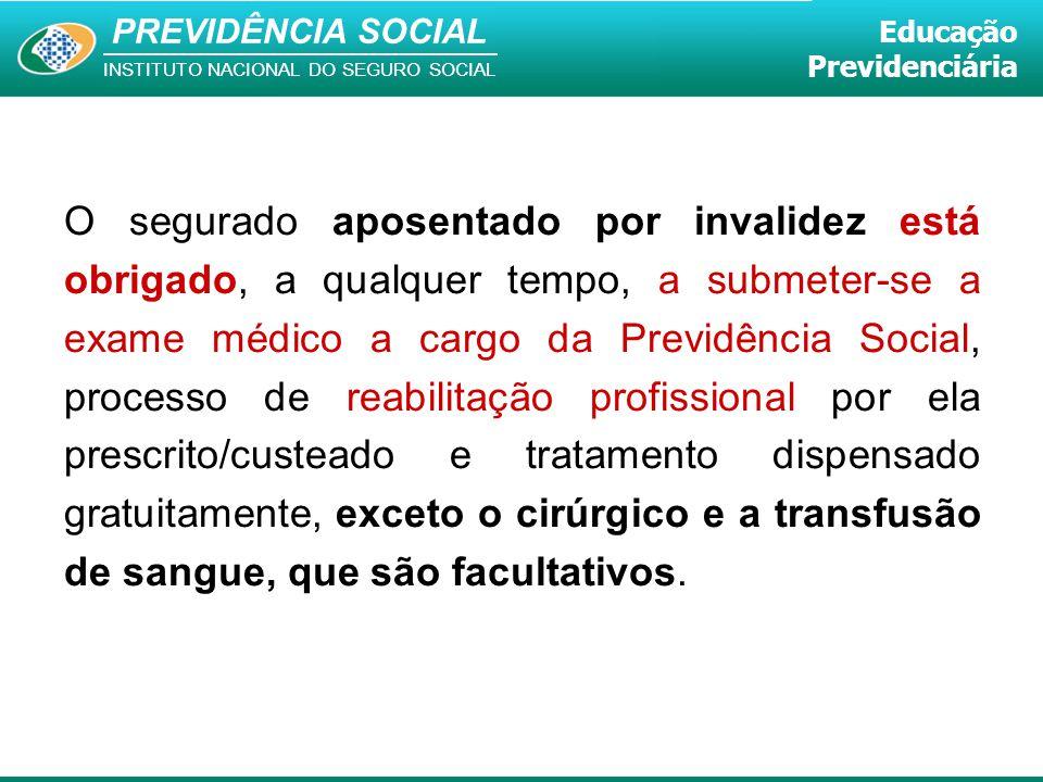 PREVIDÊNCIA SOCIAL INSTITUTO NACIONAL DO SEGURO SOCIAL Educação Previdenciária O segurado aposentado por invalidez está obrigado, a qualquer tempo, a