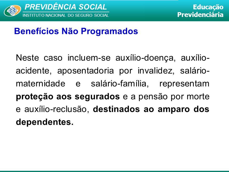 PREVIDÊNCIA SOCIAL INSTITUTO NACIONAL DO SEGURO SOCIAL Educação Previdenciária Benefícios Não Programados Neste caso incluem-se auxílio-doença, auxíli