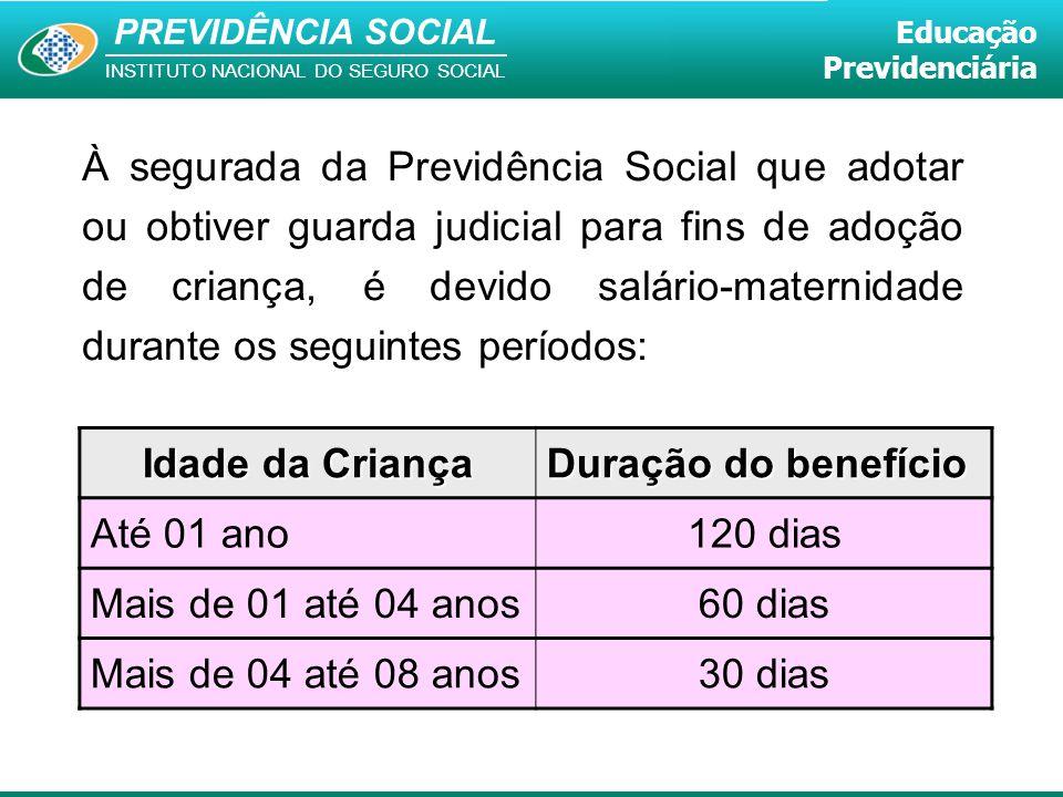 PREVIDÊNCIA SOCIAL INSTITUTO NACIONAL DO SEGURO SOCIAL Educação Previdenciária À segurada da Previdência Social que adotar ou obtiver guarda judicial
