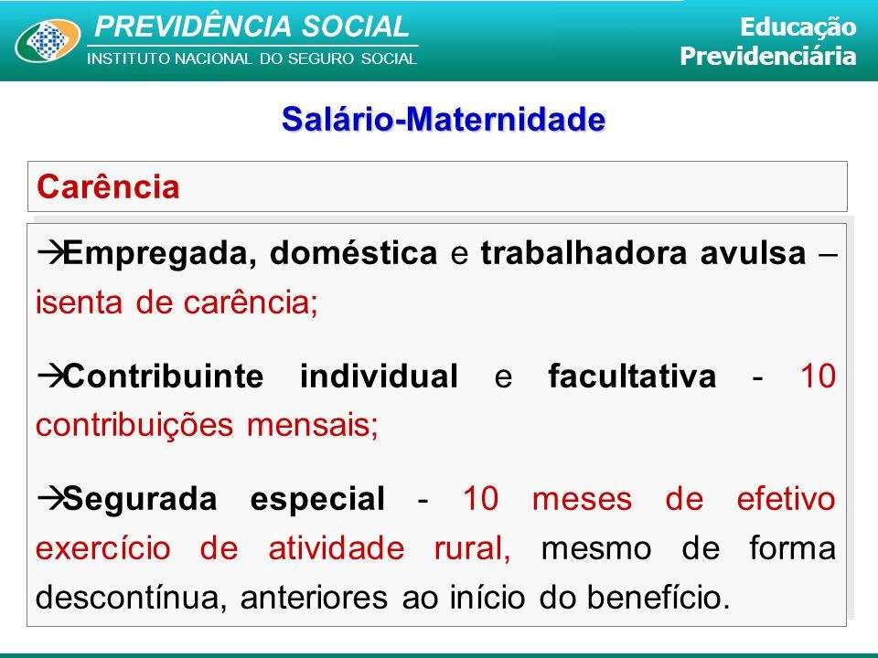 PREVIDÊNCIA SOCIAL INSTITUTO NACIONAL DO SEGURO SOCIAL Educação Previdenciária Carência  Empregada, doméstica e trabalhadora avulsa – isenta de carên