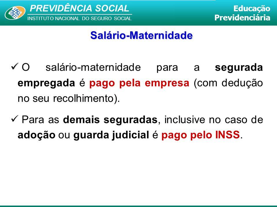 PREVIDÊNCIA SOCIAL INSTITUTO NACIONAL DO SEGURO SOCIAL Educação Previdenciária O salário-maternidade para a segurada empregada é pago pela empresa (co