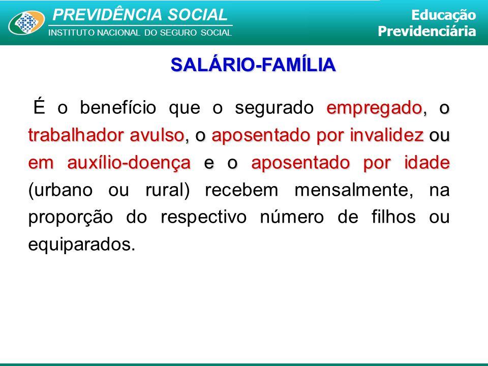 PREVIDÊNCIA SOCIAL INSTITUTO NACIONAL DO SEGURO SOCIAL Educação Previdenciária empregado, o trabalhador avulso, o aposentado por invalidez ou em auxíl