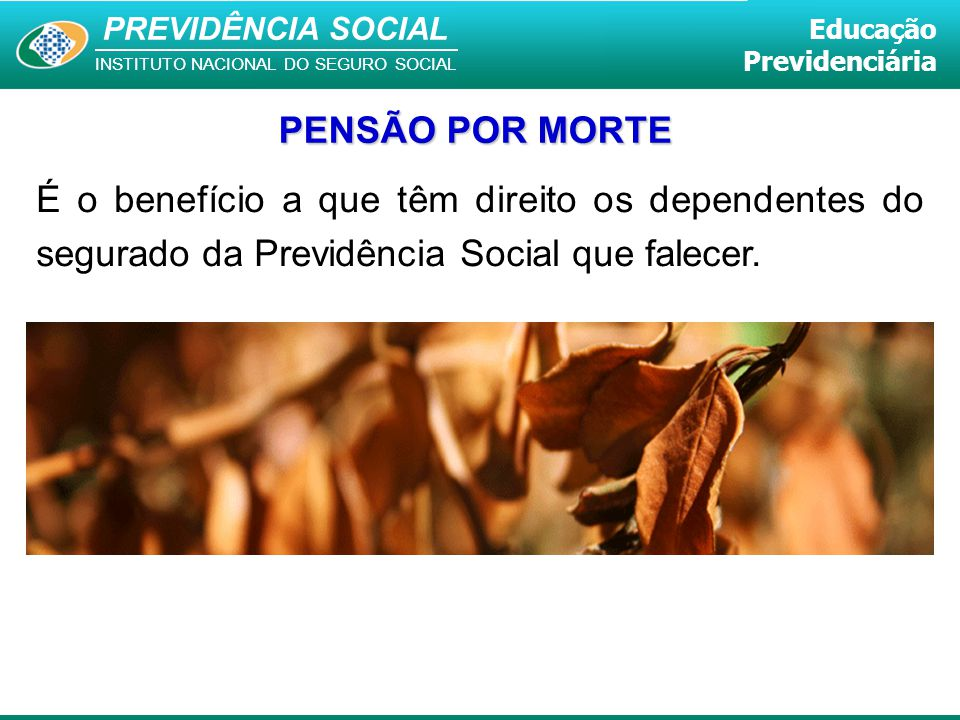 PREVIDÊNCIA SOCIAL INSTITUTO NACIONAL DO SEGURO SOCIAL Educação Previdenciária É o benefício a que têm direito os dependentes do segurado da Previdênc