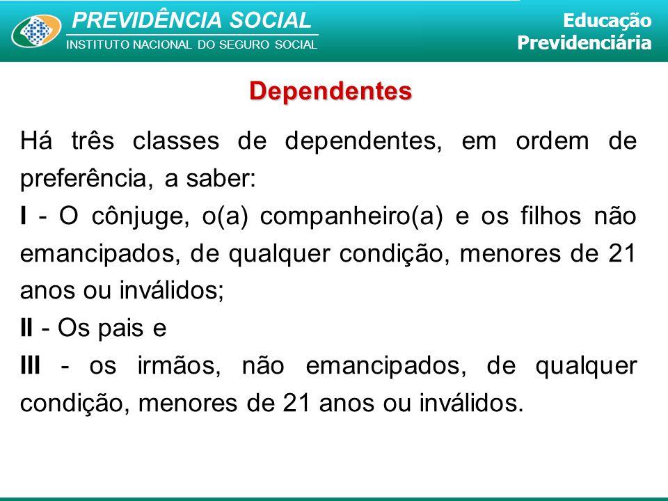 PREVIDÊNCIA SOCIAL INSTITUTO NACIONAL DO SEGURO SOCIAL Educação Previdenciária Há três classes de dependentes, em ordem de preferência, a saber: I - O