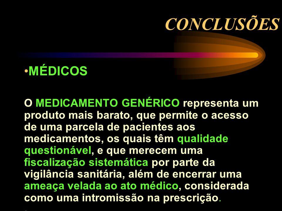 CONCLUSÕES MÉDICOS O MEDICAMENTO GENÉRICO representa um produto mais barato, que permite o acesso de uma parcela de pacientes aos medicamentos, os qua