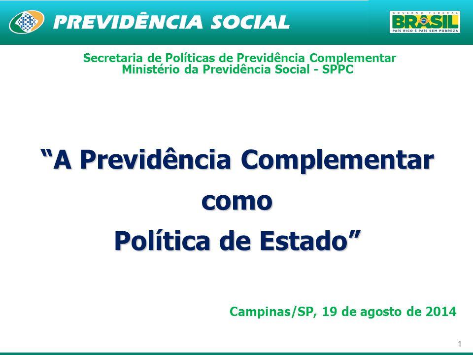 """1 """"A Previdência Complementar como Política de Estado"""" Secretaria de Políticas de Previdência Complementar Ministério da Previdência Social - SPPC Cam"""