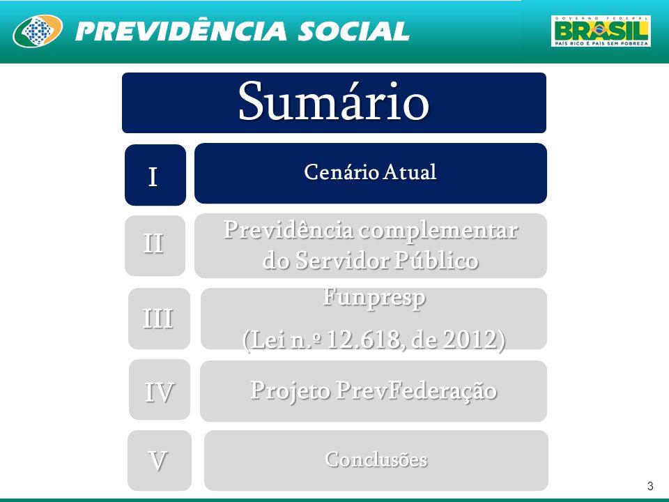 3 Sumário Cenário Atual Previdência complementar do Servidor Público Funpresp (Lei n.º 12.618, de 2012) Projeto PrevFederação Conclusões I II III IV V