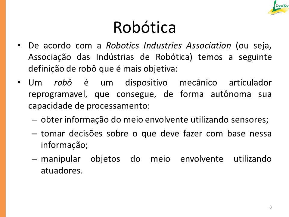 Algumas características dos robôs manipuladores industriais e das máquinas automatizadas em geral podem ser resumidos abaixo: – podem trabalhar 24 horas por dia sem descanso nem pausas; – não perdem a concentração.