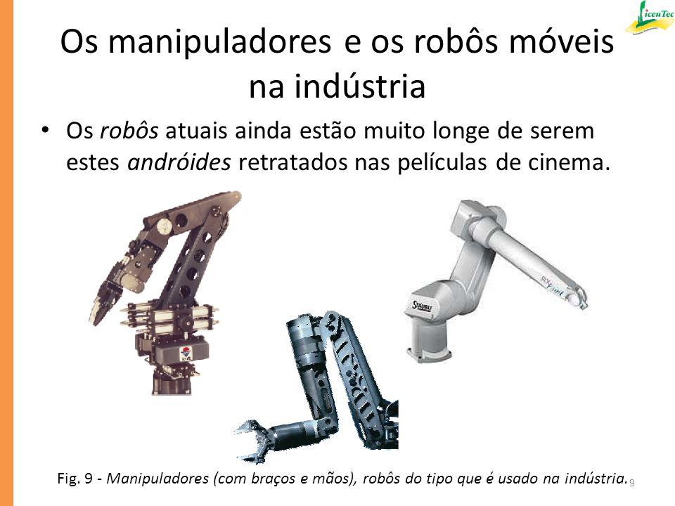 Os manipuladores e os robôs móveis na indústria Os robôs manipuladores atuais são máquinas automatizadas muito sofisticadas que realizam trabalhos produtivos especializados.